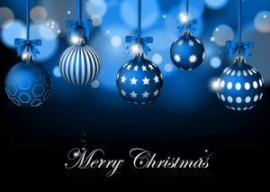 Blue Christmas Background With Baubles Vector 300×213